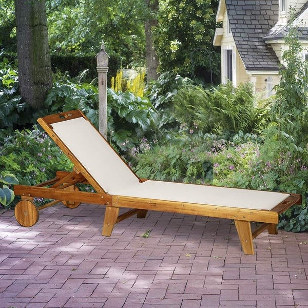 Shop Outsunny Mesh Acacia Wood Adjustable Outdoor Sun Lounger with .