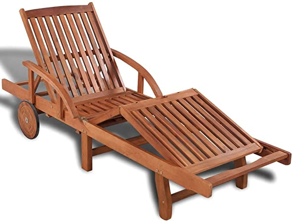 Amazon.com : Benkeg Outdoor Chaise Lounge with Wheels Wood Daybed .