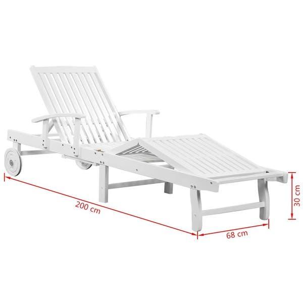 Shop vidaXL Sun Lounger with Wheels Solid Acacia Wood White .
