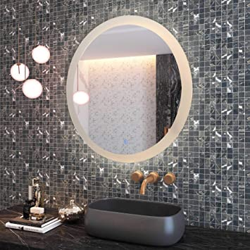 Amazon.com: CO-Z 28'' Dimmable Round LED Bathroom Mirror, Plug-in .