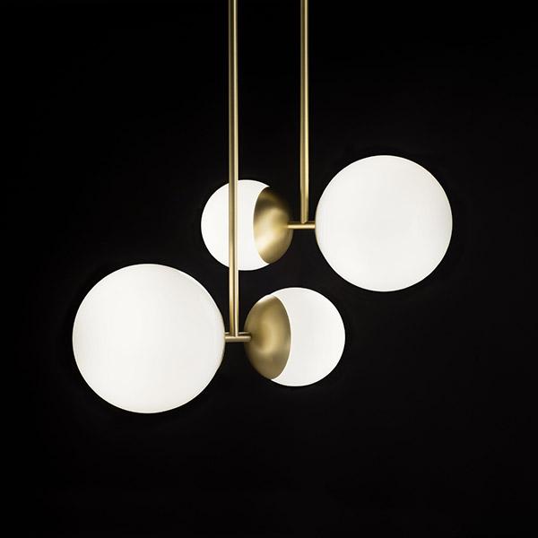 Matte Black And White Glass Biba 140 CM Suspension Lamp (LED, Non .