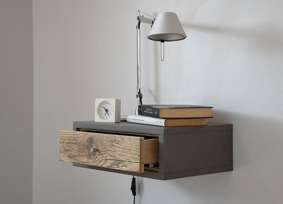 Floating bedside table / Floating nightstand with Drawer in old .