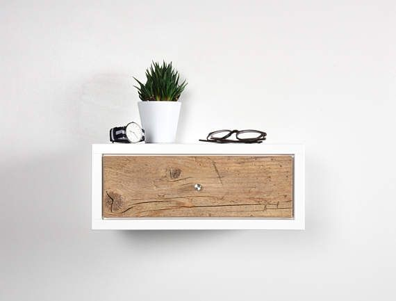 White Floating nightstand bedside table drawer in solid old wood .