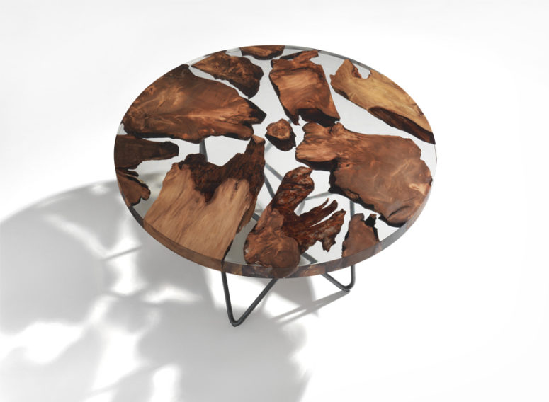 Earth Table With 50,000 Year Old Wood Floating In Resin - DigsDi