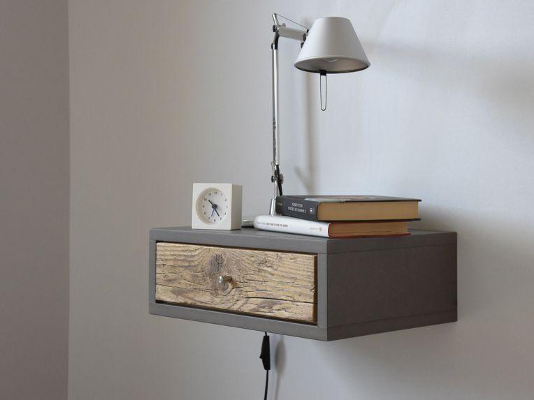 Floating Nightstands with Drawer in old wood Scandinavian design .