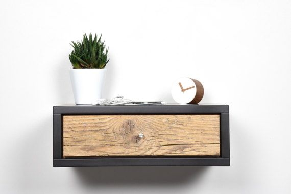 Floating nightstand gray with drawer in old wood scandinavian .