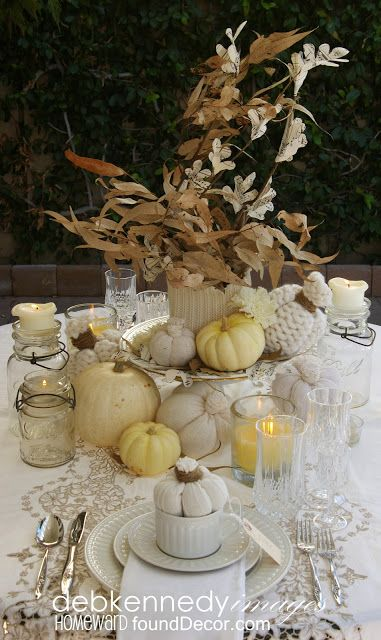 vintage white fall tablescape   Chic thanksgiving decor .