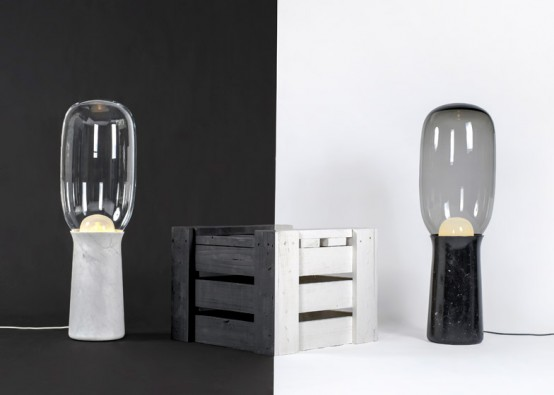 Timeless Torch Floor Lamps From Marble And Glass - DigsDi