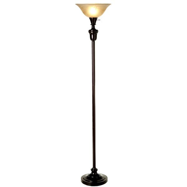 """Shop 72"""" Oil Rubbed Bronze Torchiere Floor Lamp with Glass Lamp ."""