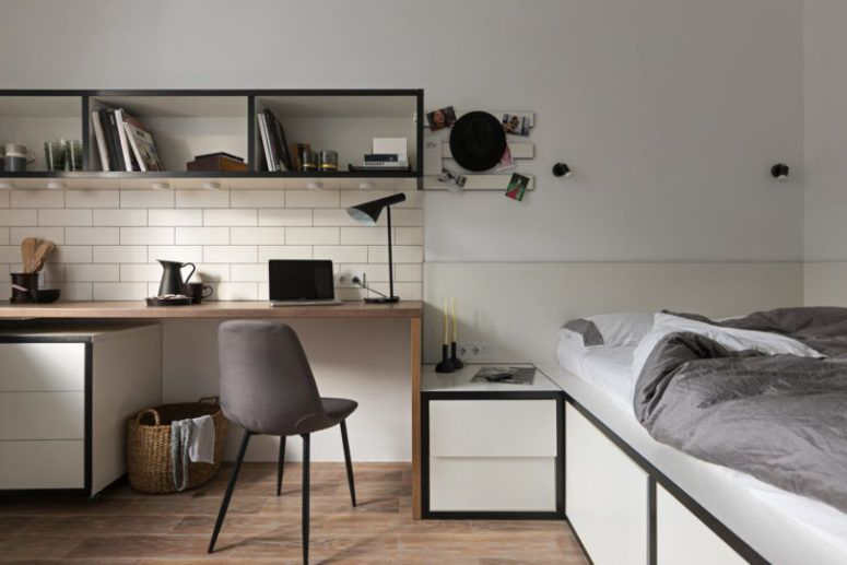 Tiny Contemporary Apartment For A Student | Small studio apartment .