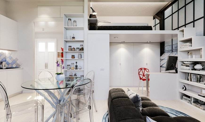 Small 29 Sqm Studio Apartment in White is a Super Stylish Space-Sav