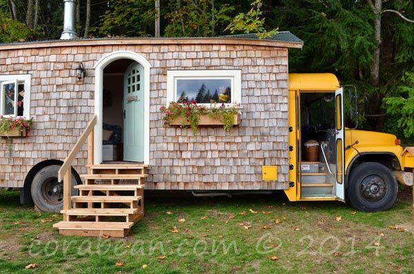 Couple Transforms A Big Yellow School Bus Into A Nice Tiny House .