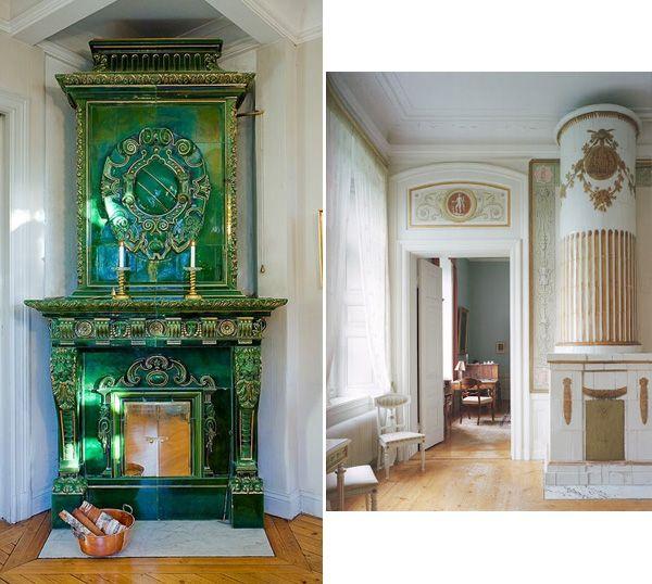 Tile stoves in interior design. #tile #stove #Swedish .