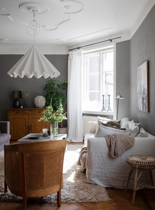 Grey with warm wood tones (With images)   Living room scandinavian .