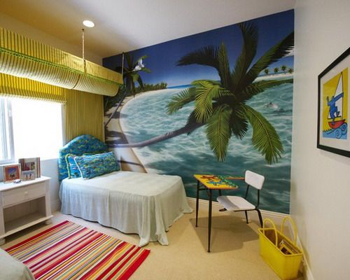 Cool Beach Wallpaper with Cute Bedding Sets and Colorful Carpet in .