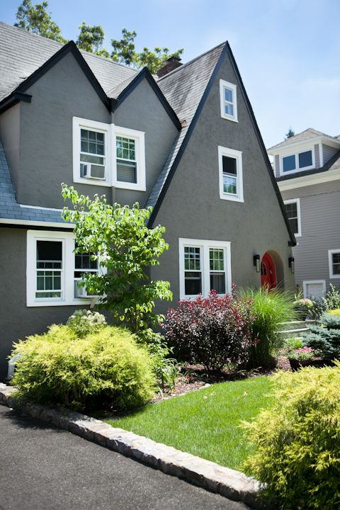 Modern Exterior Colors on Traditional Tudor Cottage, Larchmont .