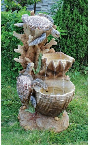 Resin Turtle Cove Cascading Sculptural Fountain with LED Light .