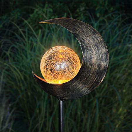 Amazon.com : Exhart Solar Glass Ball Crescent Moon Yard Stake .