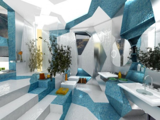 Two Contrasting Bathroom Designs In Futuristic Style - DigsDi