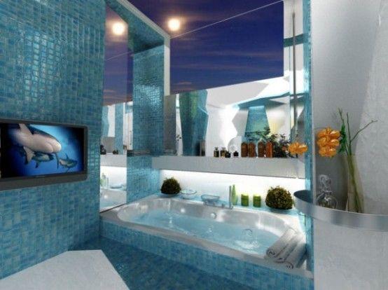 Two contrasting #bathroom design in futuristic style. Glittering .