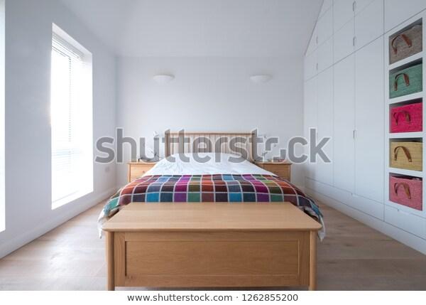 Scandi Style Minimalist Uncluttered Loft Bedroom Stock Photo (Edit .