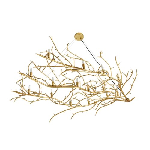 branch chandelier in gold leaf - iron chandelier with gold branch .