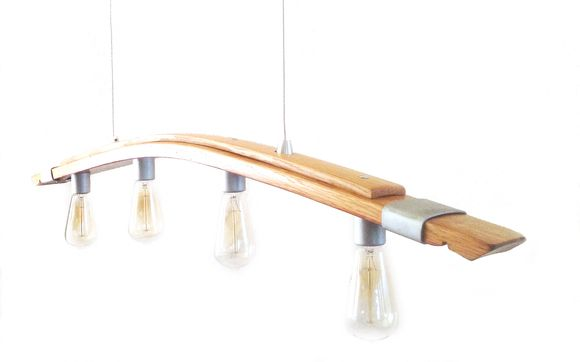 Seki Saba, recycled wine barrel stave pendant light, kitchen .