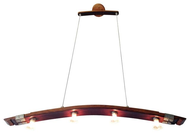 Saba Recycled Wine Barrel Stave Pendant Lighting - Industrial .