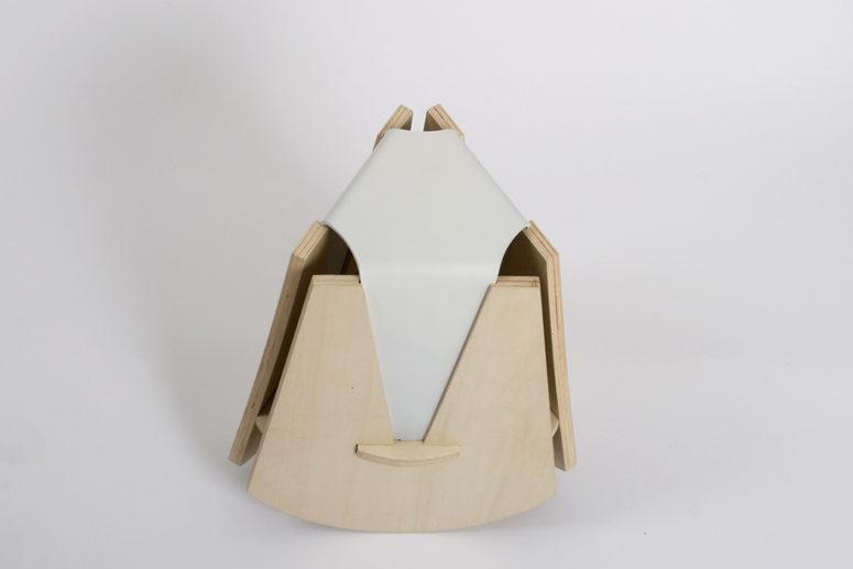 Unique Swinging Stool With Geometric Design - DigsDi