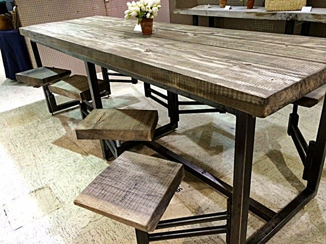 Awesome table with attached swinging stools - found in Scotts .