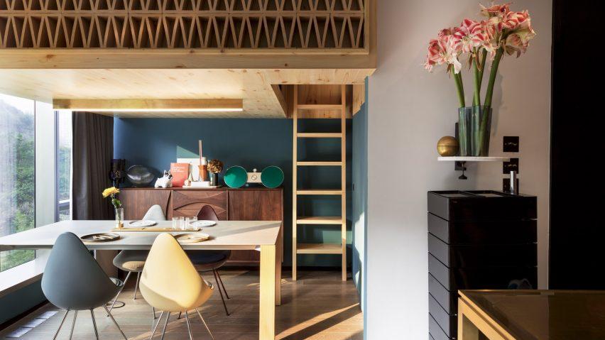 NCDA designs wood-screened loft bedroom for tiny Hong Kong treehou