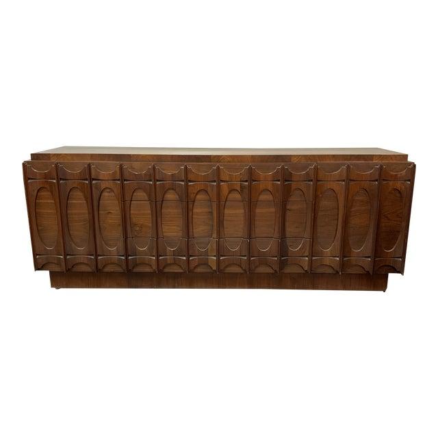 Vintage Brutalist Tobago Walnut Dresser   Chairi