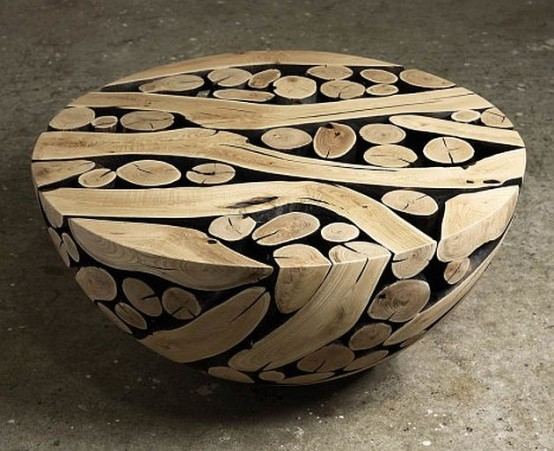 Unique Wooden Sphere Furniture And Art In One - DigsDi