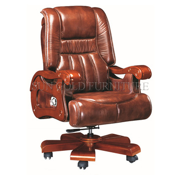 Brown Leather Swivel Big Boss Chair,Ceo Desk Chair,Luxury Office .