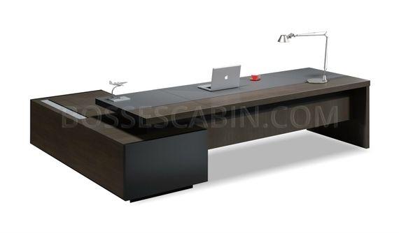 Office Table In Walnut Veneer & Leather: Large Desks Online: Boss .