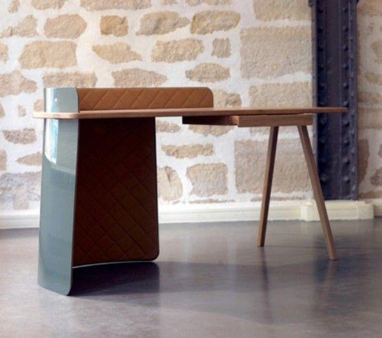 Unusual Big Boss Desk Of Metal, Wood And Leather | Creative desks .