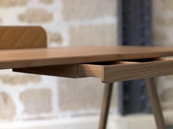 Unusual Big Boss Desk Of Metal, Wood And Leather - DigsDi
