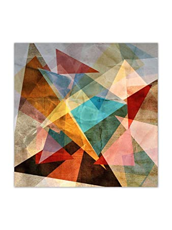 999Store Wooden Framed Printed Unusual Bright Colorful Geometric .