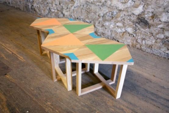 Unusual Wooden Furniture With Bright Geometric Patterns - DigsDi