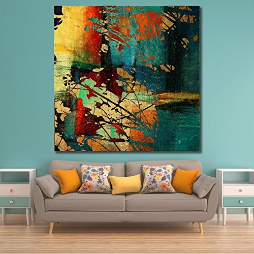 Wooden framed large printed unusual bright colorful geometric .