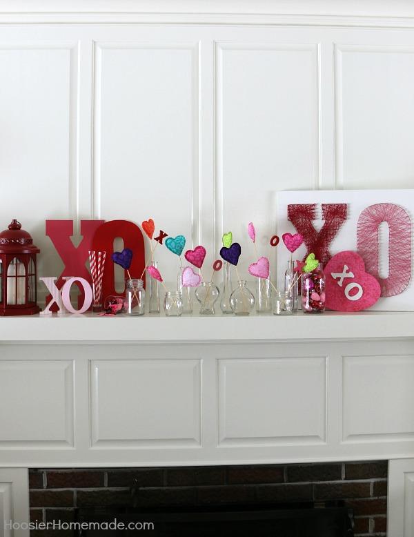 Valentine Decorating: Hugs and Kisses Mantel - Hoosier Homema