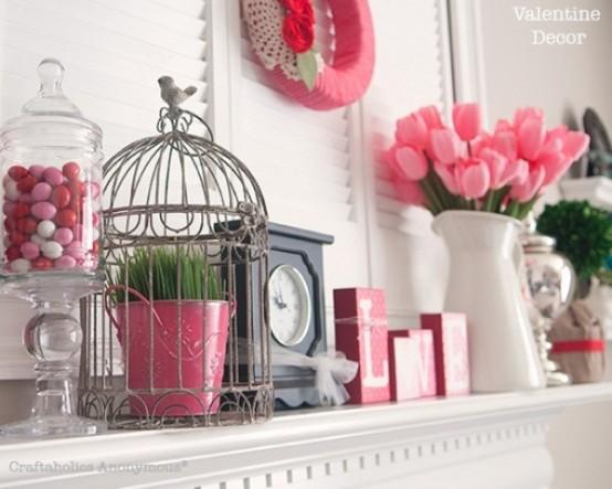 65 Valentine's Day Mantel Décor Ideas - DigsDi