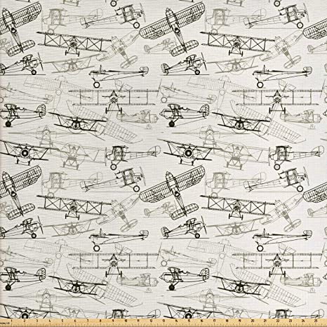 Amazon.com: Ambesonne Airplane Fabric by The Yard, Old Fashioned .