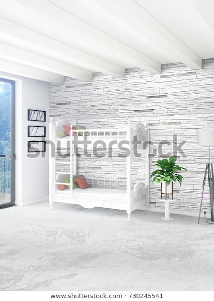 Vertical Concept Loft Nursery Modern Style Stock Illustration .