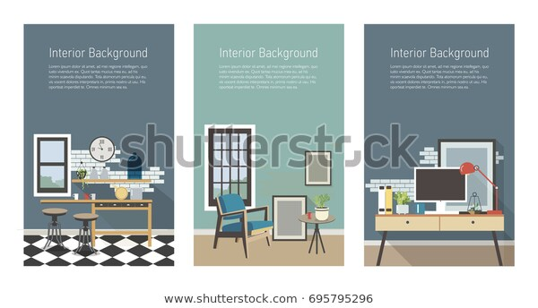 Modern Interior Banners Set Kitchen Living Stock Vector (Royalty .