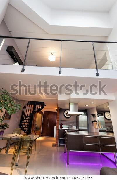 Vertical Photo Loft Apartment Modern Interior Stock Photo (Edit .