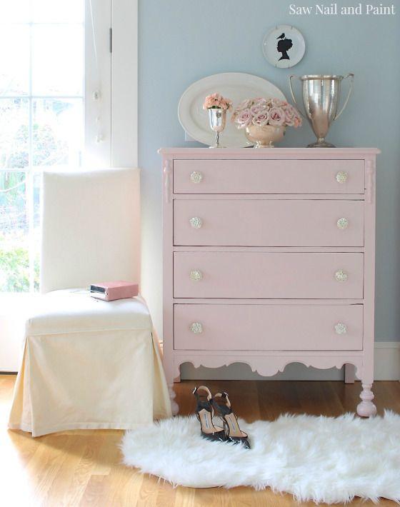 Blush Pink Vintage Dresser - Saw Nail and Paint | Pink dresser .