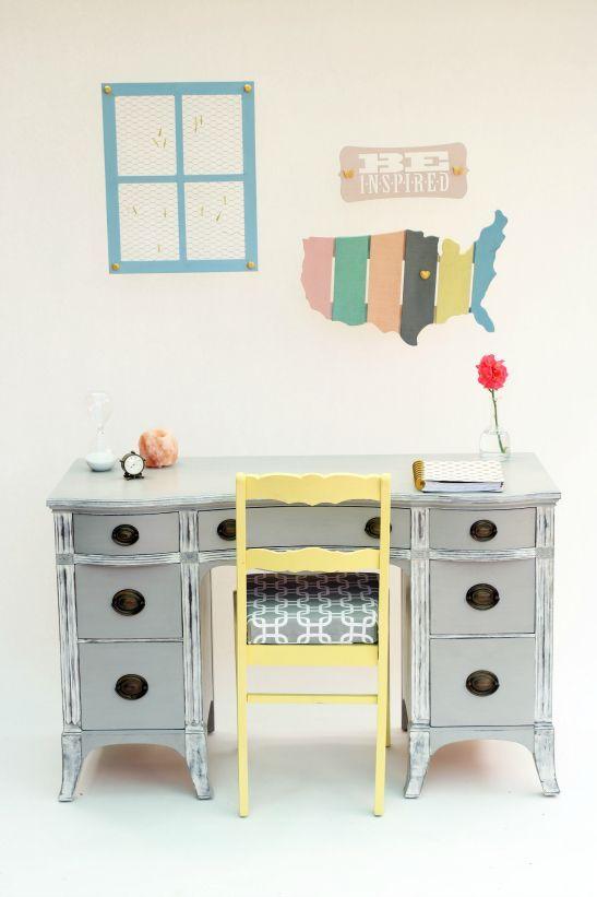 Furniture Flip: Vintage Inspired Home Office Milk Paint Makeover .
