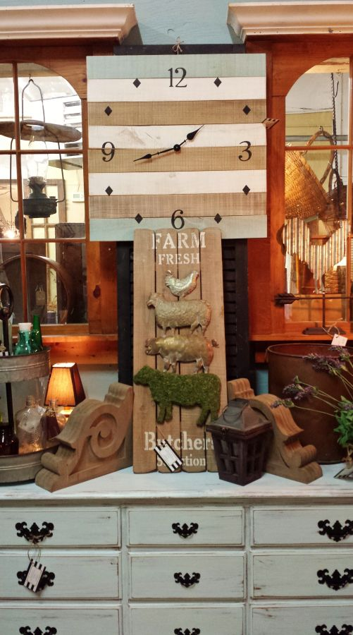 New farmhouse and vintage-inspired home decor at Villa and Farm .