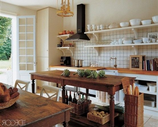 28 Vintage Wooden Kitchen Island Designs   DigsDigs   Traditional .